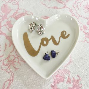 'Love' Decorative Porcelain Heart Dish