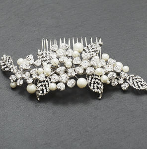 Antique Style Crystal And Pearl Comb - bridal hairpieces