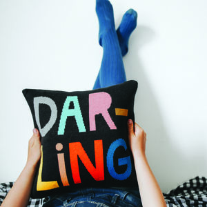 'Darling' Knitted Cushion - a happy home