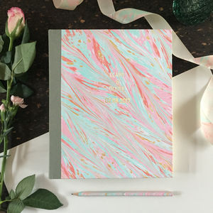 Personalised Hand Marbled Wedding Album