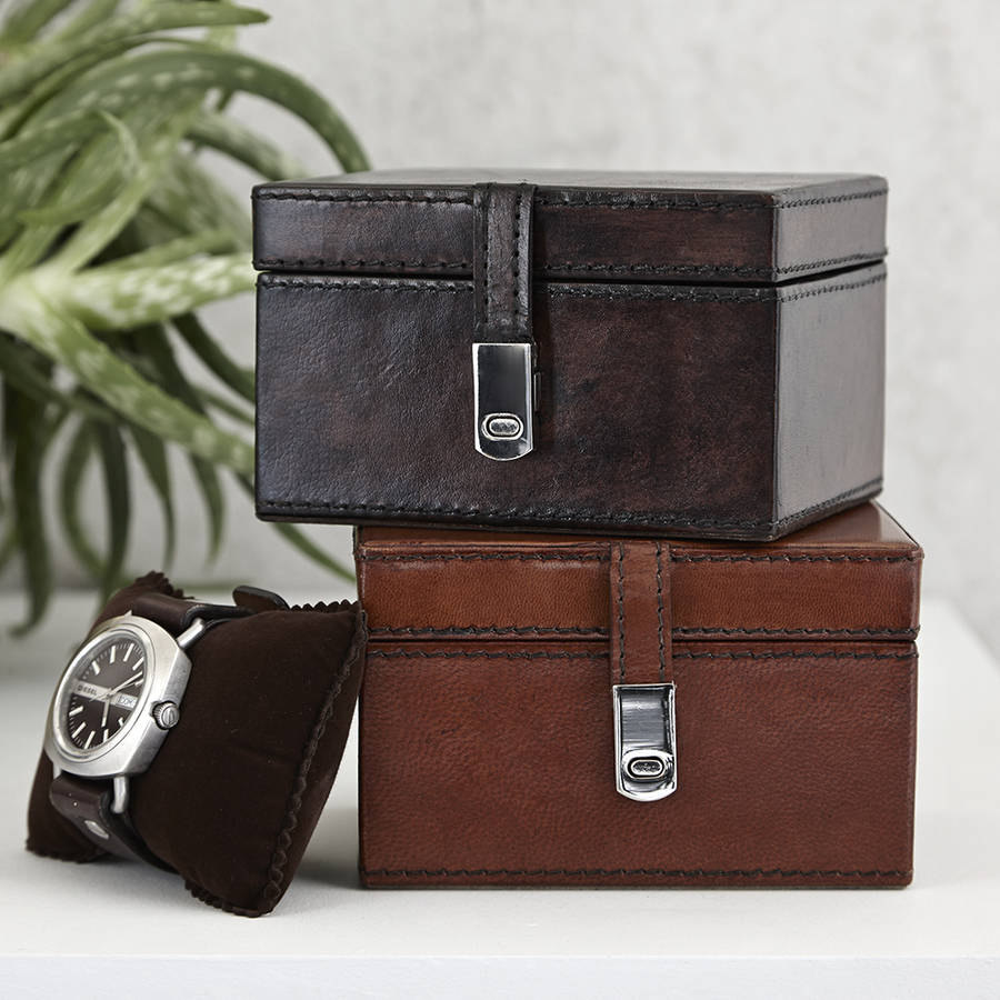 Personalised Leather Watch Box With Chrome Clasp