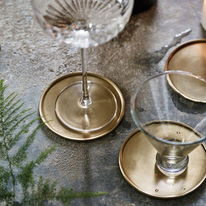 Lena Brass Coasters, Set Of Four - table decorations