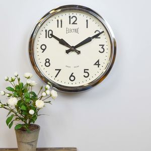 Newgate Retro Wall Clock Choice Of Chrome, Red Or Black - clocks