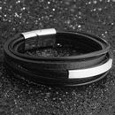 Mens Handmade Leather Bangle Bracelet