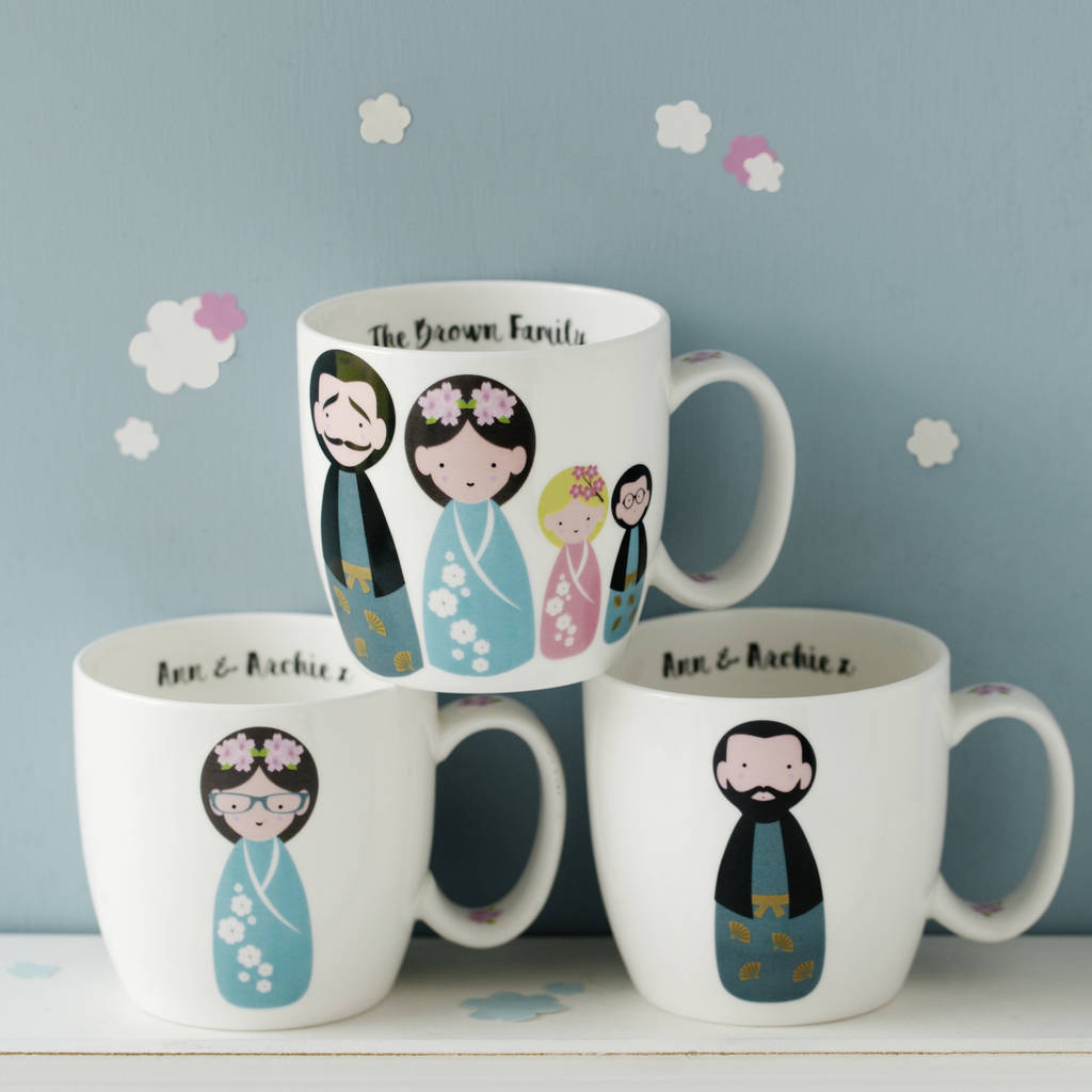 Personalised Japanese Kokeshi Doll Bone China Mug