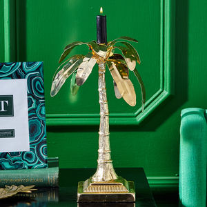 Large Gold Palm Tree Candle Pillar - table decorations