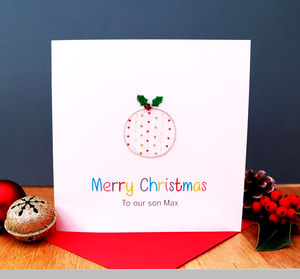 A Personalised Embroidered Xmas Pudding Card - christmas