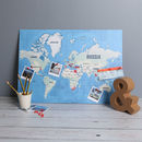 Colourful World Map Print Pinboard