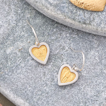 Sterling Silver And Gold Heart Earrings
