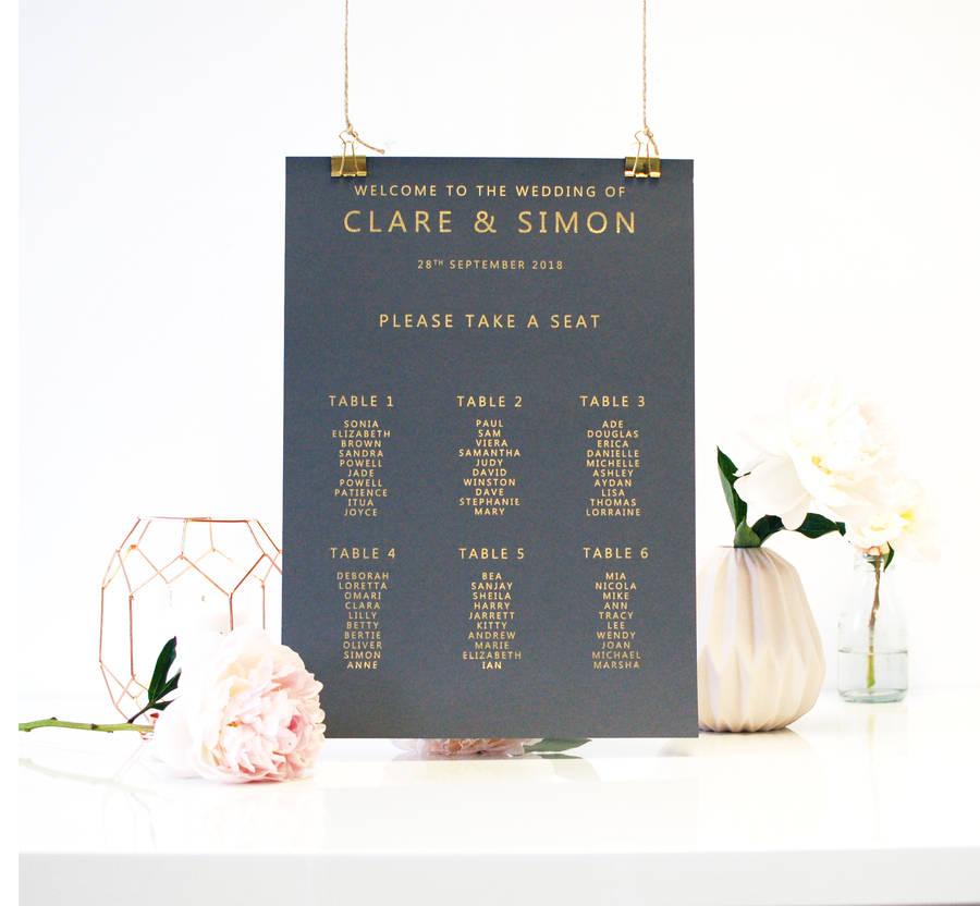 Gold And Grey Metallic Wedding Seating Plan Table Plan By