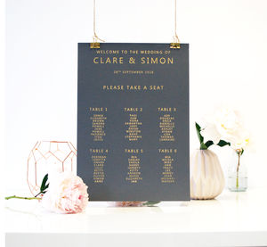 Gold And Grey Metallic Wedding Seating Plan Table Plan - winter styling