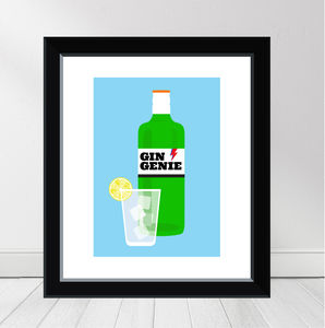 'Gin Genie' Personalised Gin Print - food & drink prints