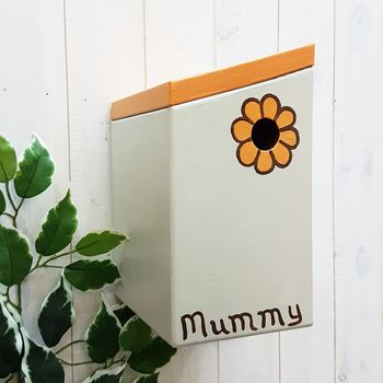Retro Flower Bird Box: Marigold, Stone