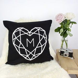 Jewelled Heart Initial Personalised Cushion Cover - cushions