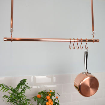 pan rack, pan storage, ceiling rack copper rack, copper rail, copper pot and pan rail, pans, pots, kitchen rail, kitchen pan rack