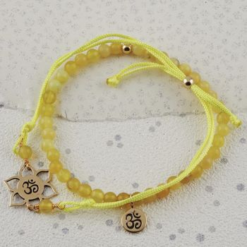 Ohm Charm Yellow Jade Bracelets In Gold Or Silver