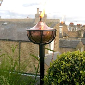 Oil Burning Garden Torch In Copper Or Silver - christmas lighting