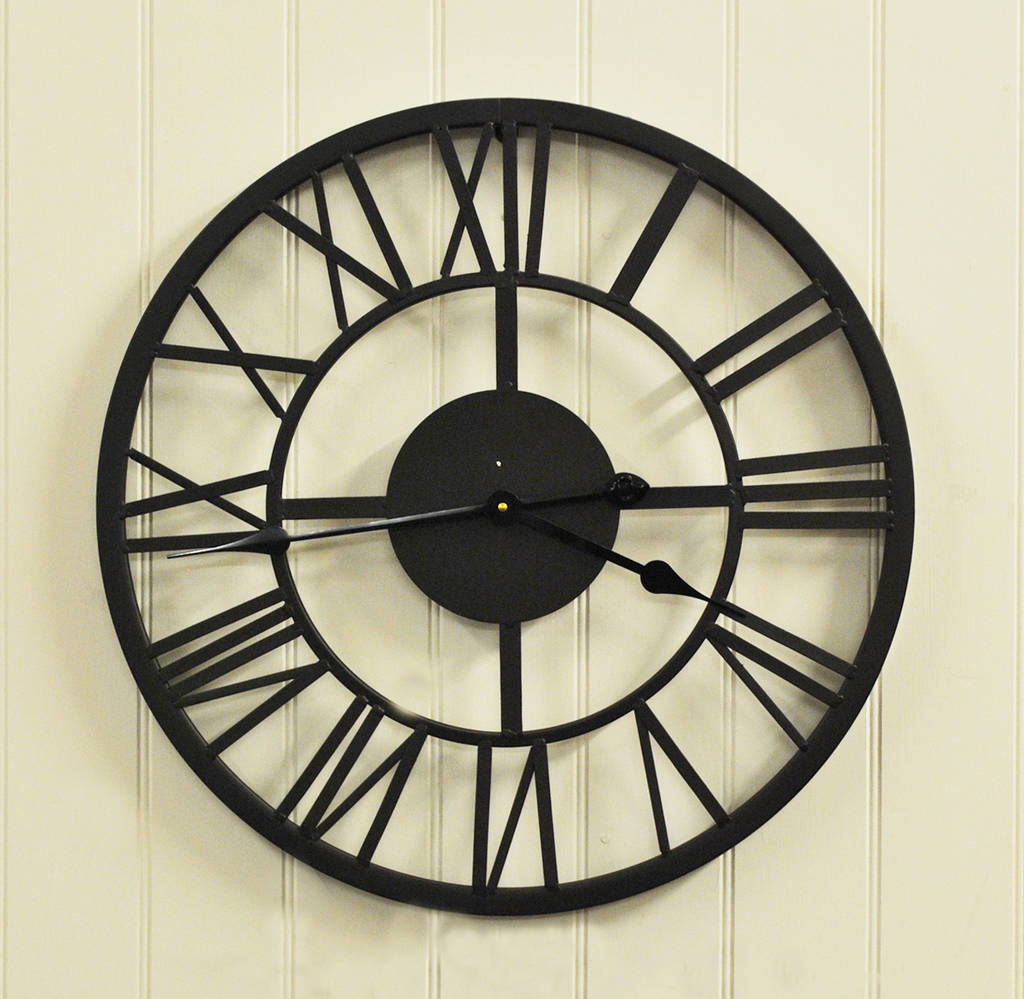 Black Roman Numeral Indoor And Outdoor Wall Clock 56cm By Garden