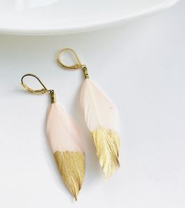 Gold Dipped Feather Earrings - earrings