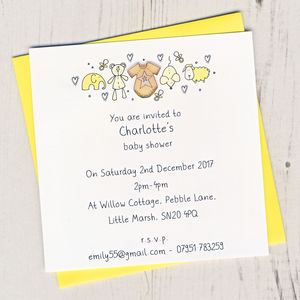 Pack Of Personalised Baby Shower Invitations - baby shower invitations