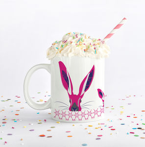 Personalised Hare Mug With Pattern Stripe