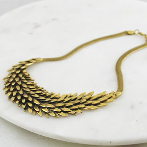 Antiqued Metal Feather Necklace