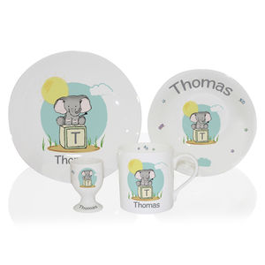 Elephant China Personalised Childrens Breakfast Set