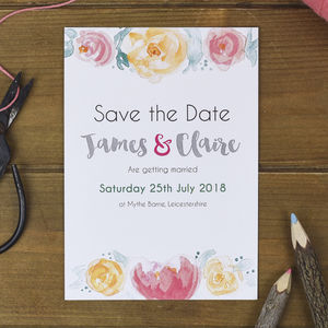 Blush Florals Save The Date Cards - invitations