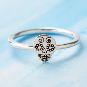 Sugar Skull Sterling Silver Stacking Ring - rings