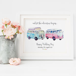 Personalised Camper Vans Wedding Print - 100 best wedding prints