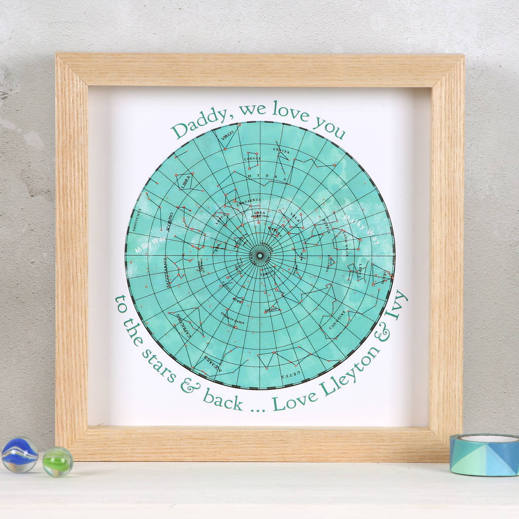 Love You To The Stars Map Father's Day Framed Print