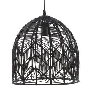 Black Woven Rattan Pendant Lamp - ceiling lights