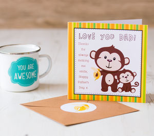Father's Day Monkey Card - summer sale
