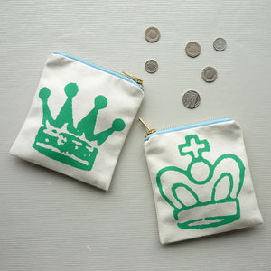 Chess Crown Zipped Purse Pouch