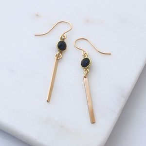 Black Onyx Gold Bar Earrings