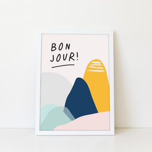 'Bonjour' Abstract Mountain Children's Art Print