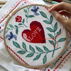 Love Story Cross Stitch Kit By Wool And The Gang