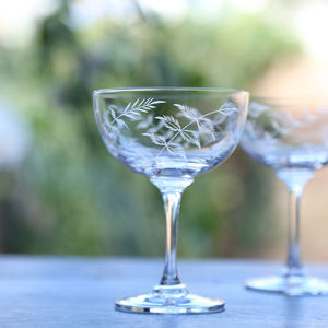 Set Of Six Fern Design Champagne Saucers