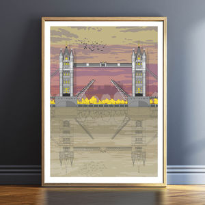 Tower Bridge Sunset Architectural Print - drawings & illustrations