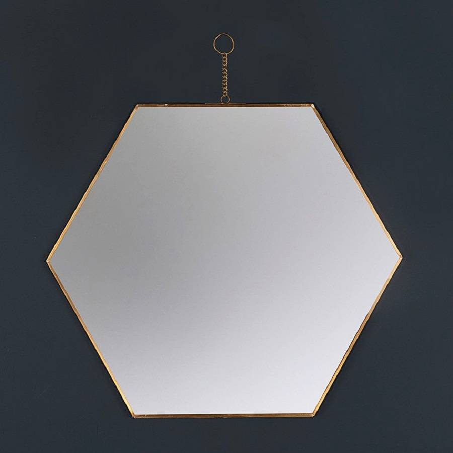 Hexagon brass wall hanging mirror by marquis dawe for Hanging mirror