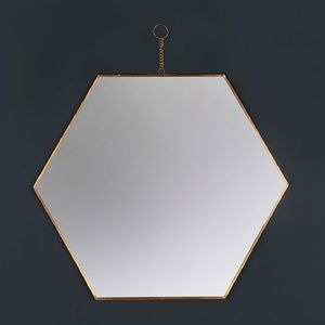 Hexagon Brass Wall Hanging Mirror - mirrors