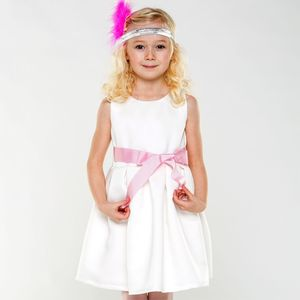 Girls Ivory Satin Occasion Dress - clothing