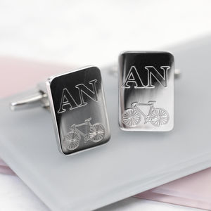 Personalised Initial And Bicycle Cufflinks