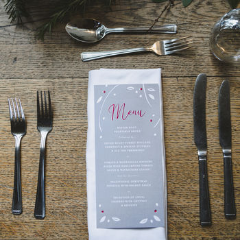 Winter Berry Wedding Reception Menu Cards