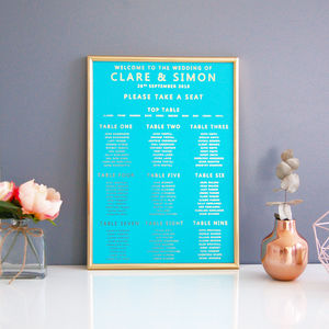 Azure Blue And Gold Wedding Seating Plan Table Plan