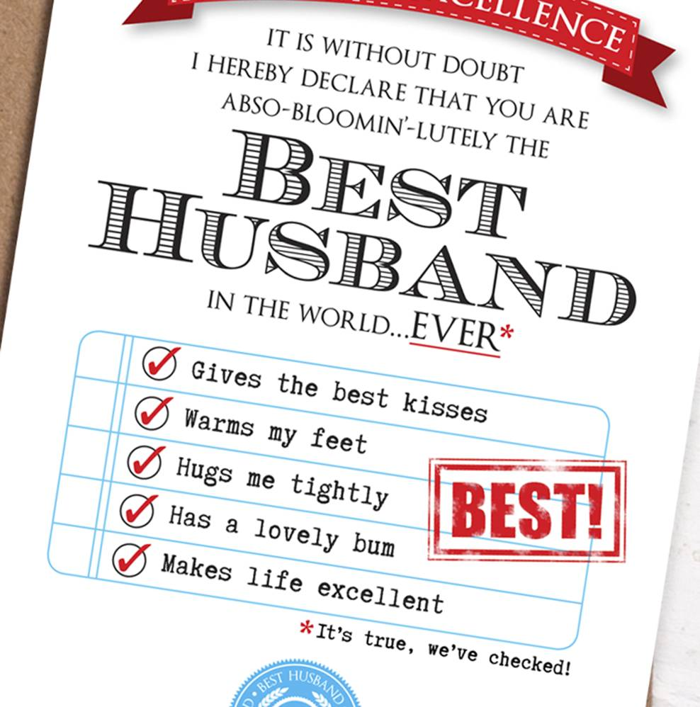 Best Husband Card By Eskimo Kiss Designs