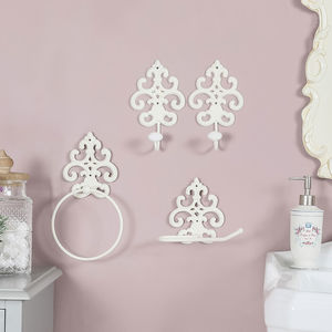 Ornate Ivory Cast Iron Bathroom Accessories Collection