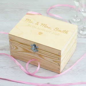 Personalised Mr Mrs Keepsake Box - 5th anniversary: wood