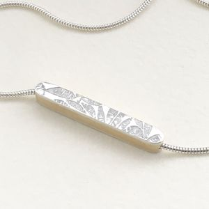 Embossed Silver Bar Necklace - necklaces & pendants