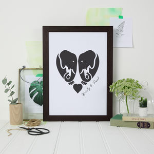 Personalised Elephant Love Print - prints & art sale